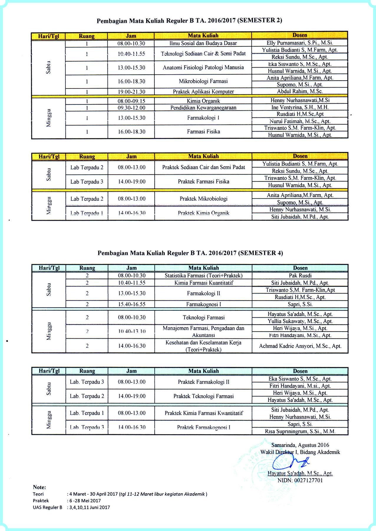 Jadwal Matkul Reg B T.A 2016_2017