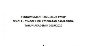 PENGUMUMAN HASIL JALUR PMDP SEKOLAH TINGGI ILMU KESEHATAN SAMARINDA TAHUN AKADEMIK 2019/2020